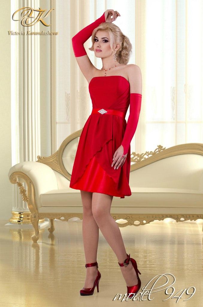 Вечерние красно белые платья 7